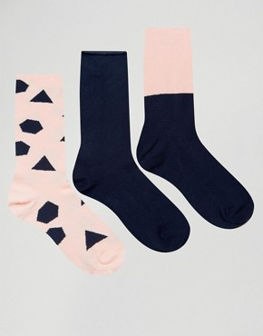 ASOS Socks With Geo Design & Roll Top 3 Pack