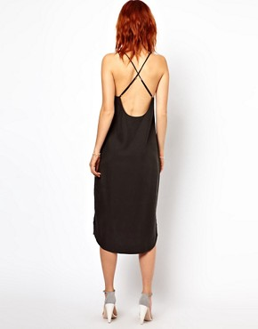 Image 2 ofGanni Slip Dress with Low Back in Cupro