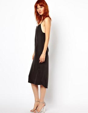 Image 4 ofGanni Slip Dress with Low Back in Cupro