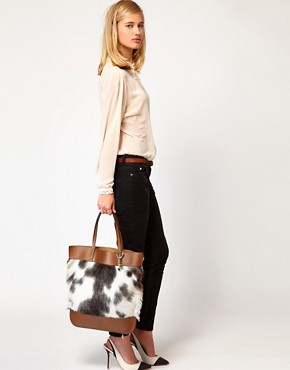 Image 3 ofWhistles Faux Fur Fleur Leather Shopper