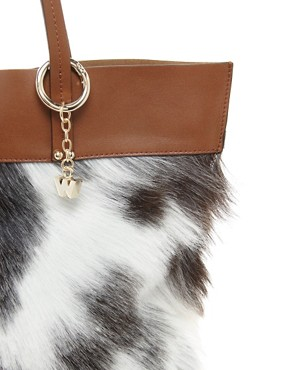 Image 4 ofWhistles Faux Fur Fleur Leather Shopper