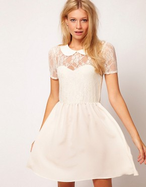 Image 1 ofASOS Lace Shirt Dress With Peterpan Collar
