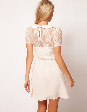 Image 2 ofASOS Lace Shirt Dress With Peterpan Collar
