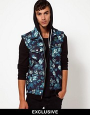 Reclaimed Vintage Denim Gilet with Floral Print