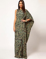 Aqua Brill Printed Asymmetric Cape Side Maxi Dress