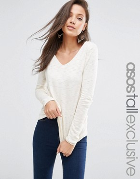 ASOS TALL Jumper With V Neck in Natural Yarn