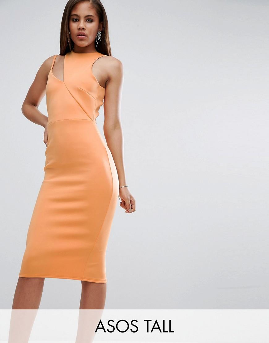 ASOS TALL Scuba Cut Out Neck Asymmetric Dress - Peach