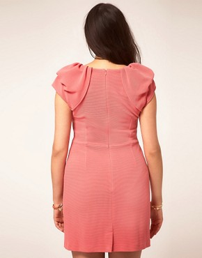 Image 2 ofASOS CURVE Textured Tulip Dress With Ruffle Shoulders
