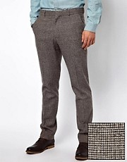 ASOS Slim Fit Suit Trousers In Houndstooth