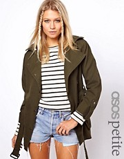 Esclusiva ASOS PETITE - Parka stile motociclista con cintura