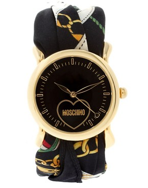 Image 1 ofMoschino Watch With Dual Leather and Silk Straps