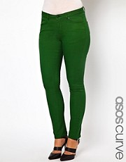 Vaqueros pitillo en verde de ASOS CURVE