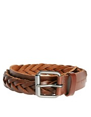 French Connection Leather Plaited Belt