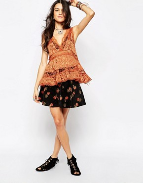 Free People Super Stretch Cord Floral Print Skater Skirt