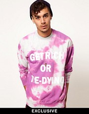 Reclaimed Vintage Sweat with Get Rich or Tie-Dying Print