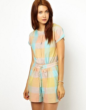Sessun Playsuit in Colourful Madras Check