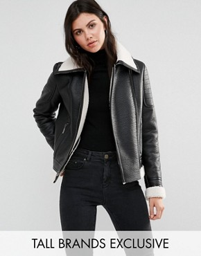 Glamorous Tall Faux Shearling Jacket With Leather Look Trim Detail