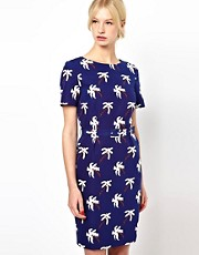 Boutique by Jaeger Palm Print Pencil Dress with Belt