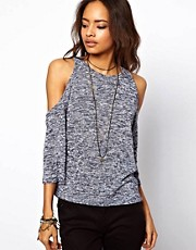 ASOS Twist Knit Cold Shoulder Top