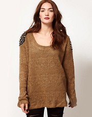 Reverse Studded Shoulder Knit Sweater