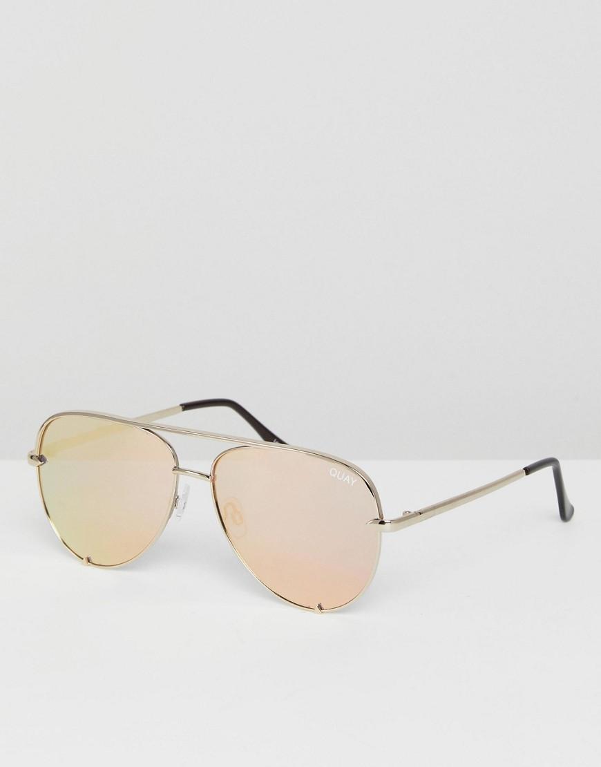 Золотистые солнцезащитные очки-авиаторы Quay Australia x Desi
