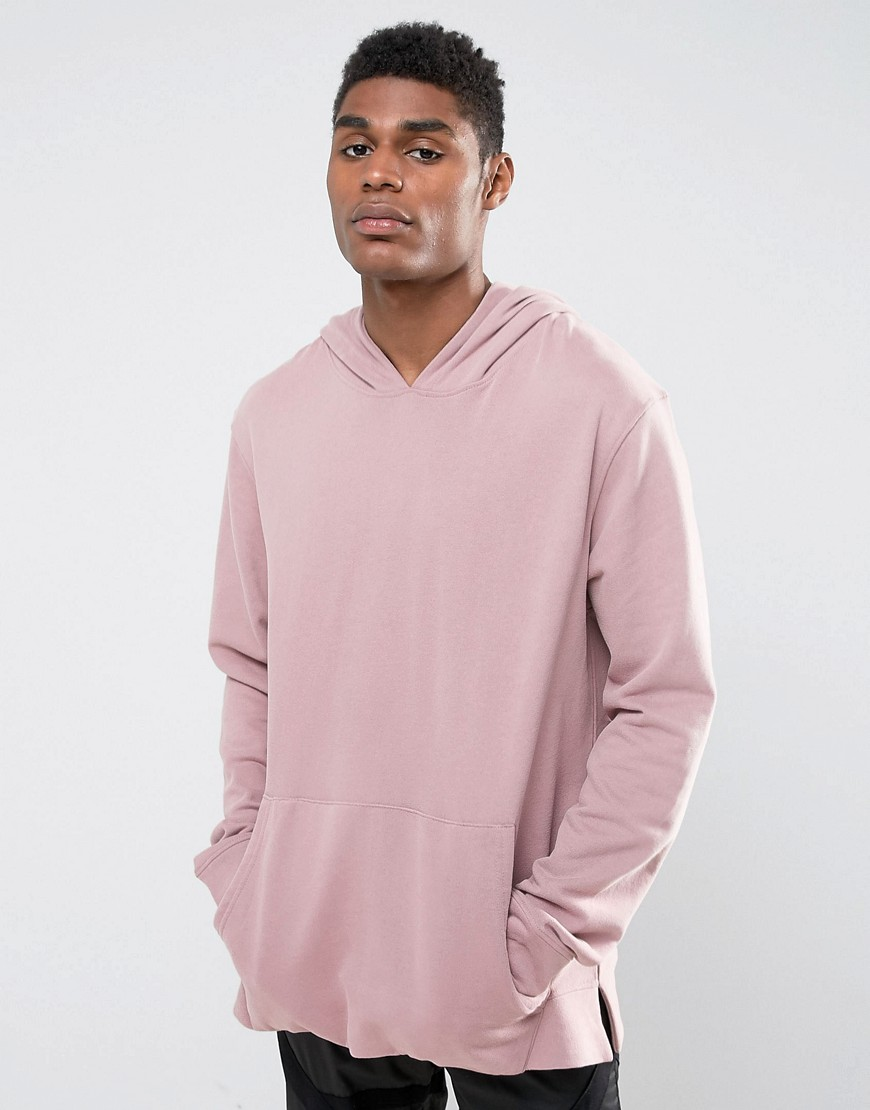Mennace Oversized Hoodie With Pouch Pocket In Light Pink - Blossom