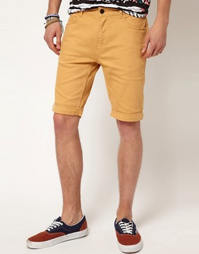 Image 1 ofRiver Island Yellow Denim Shorts