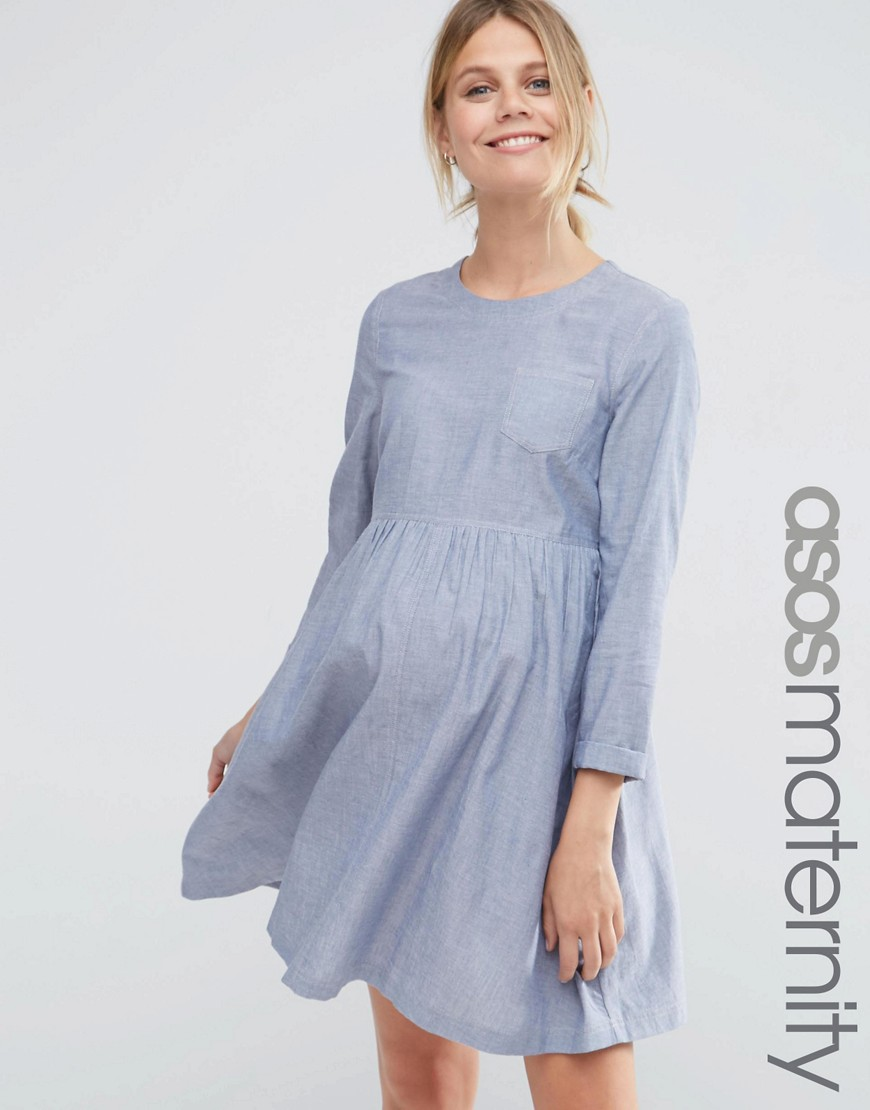ASOS Maternity Long Sleeve Chambray Smock Dress - Blue