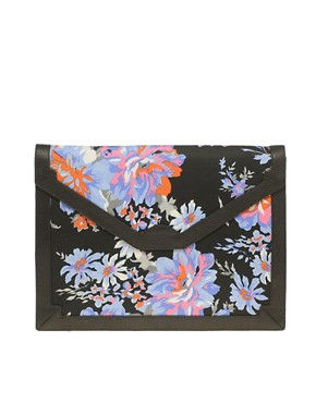 Image 1 ofASOS Fabric Envelope Clutch With Leather Trim