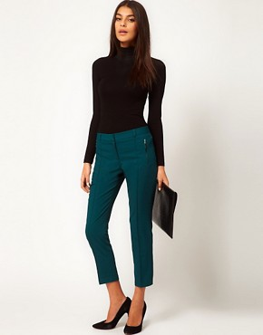 Image 1 ofASOS Crop Trousers With Zip Pocket