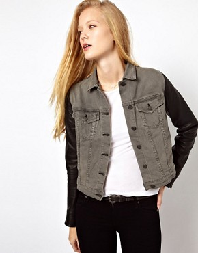 Image 1 ofRag &amp; Bone/Jean The Jean Jacket With Leather Sleeves