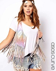 ASOS CURVE Exclusive Leather Fringe Festival Waistcoat