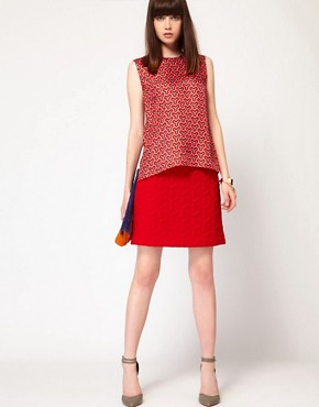 Image 1 ofJonathan Saunders Robyn Skirt in Quilted Fabric