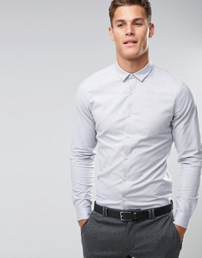 ASOS Smart Slim Oxford Shirt With Stretch In Light Grey