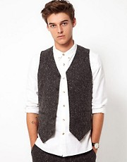ASOS Suit Waistcoat in Charcoal Donegal