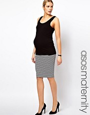 ASOS Maternity Pencil Skirt In Mono Stripe