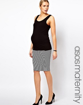 Image 1 of ASOS Maternity Pencil Skirt In Mono Stripe