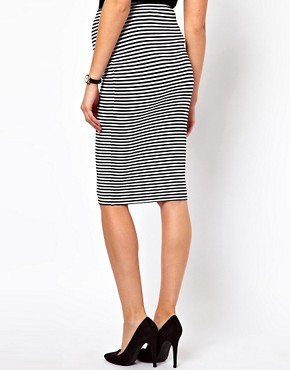 Image 2 of ASOS Maternity Pencil Skirt In Mono Stripe
