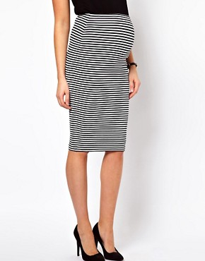 Image 4 of ASOS Maternity Pencil Skirt In Mono Stripe