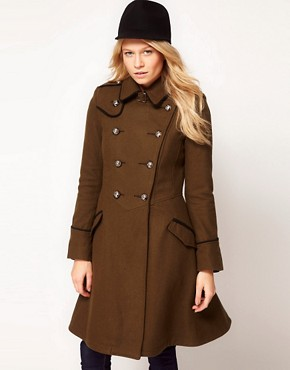 Image 1 ofASOS Military Fit And Flare Coat