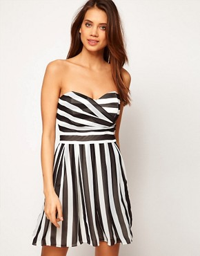 Image 1 ofTFNC Skater Dress in Bold Stripe Chiffon