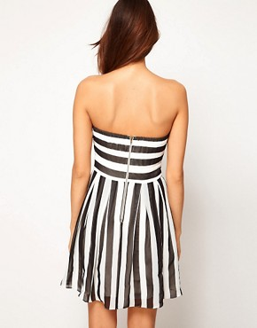 Image 2 ofTFNC Skater Dress in Bold Stripe Chiffon