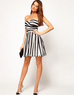 Image 4 ofTFNC Skater Dress in Bold Stripe Chiffon