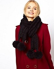 ASOS Cable Scarf With Poms