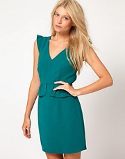Oasis Peplum Dress With V Neck