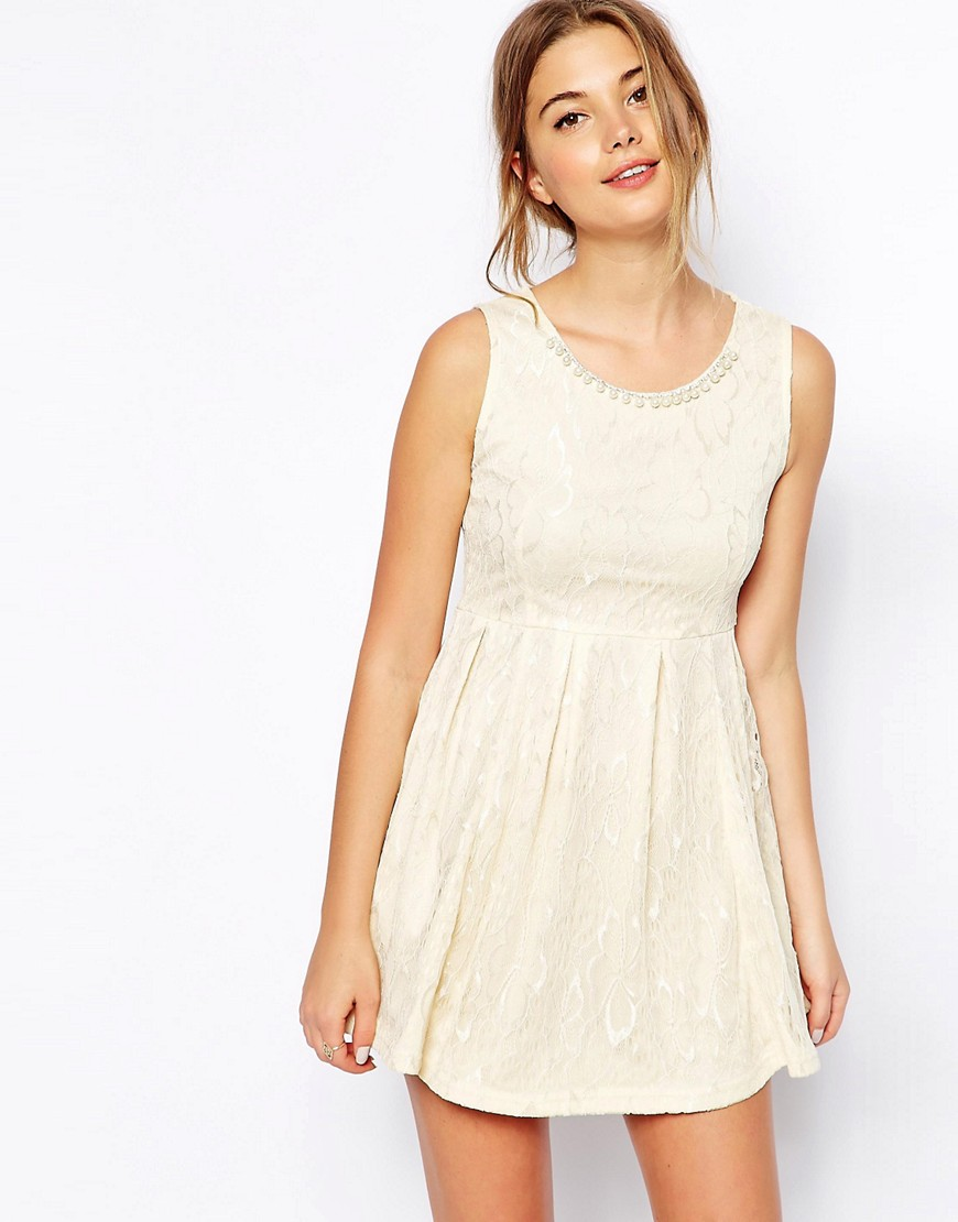 QED London Lace Dress with Pearl Neck - Cream