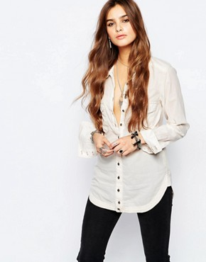 Free People Last Chance Button Down Shirt in Cream