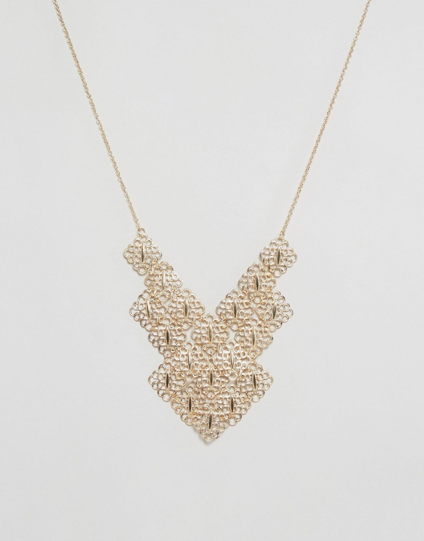 Nylon Etched Layered Statement Festival Necklace - Gold