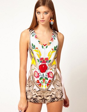Image 1 ofAlice McCall Playsuit in Framed Floral Print Silk