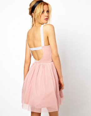 Image 2 ofASOS PETITE Exclusive Strappy Back Tutu Dress